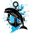 black silhouette dolphin in water splash vector image vector image
