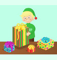 boy and presents on table vector image vector image