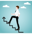 Businessman on stairs Success concept vector image vector image