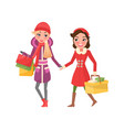 christmas shopping of best friends girl shoppers vector image vector image