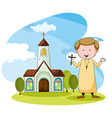 Church and priest vector image vector image