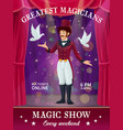 circus or carnival magician poster magic show vector image vector image
