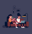 couple using their mobile devices whilst sitting vector image