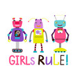 cute robot girls t-shirt design vector image vector image