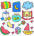 doodle of baby various set vector image vector image