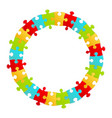 fun kids puzzle frame round form vector image