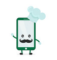 funny cute smartphone phone cook vector image