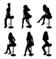 girl silhouette set on chair in black vector image vector image