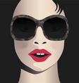Glamor girl wears sunglasses Celebrity vector image vector image