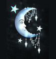 halfmoon with human face and stars vector image vector image