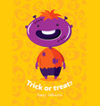 halloween poster trick or treat with zombie on vector image