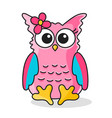 icon pink owl girl with flower vector image vector image