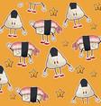 kawaii roll sushi oriental food wallpaper vector image