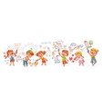 kindergarten kids drawing pictures vector image vector image