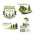 landscape gardening and ecology symbol set vector image