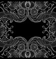 linear abstract flourish frame at black vector image
