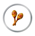 Mexican maracas icon in cartoon style isolated on vector image