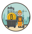 mining bitcoin and worker with shovel and wagon vector image vector image