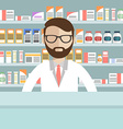 Modern flat of a male pharmacist at the counter in vector image vector image