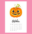 october 2018 year calendar page vector image