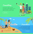 people on vacation conceptual flat banners vector image vector image