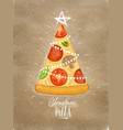 poster christmas tree pizza craft poster vector image