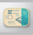 premium seafood aluminium container with label vector image