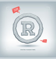 registered trademark symbol stone carved typeface vector image