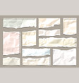 ripped colored crumpled paper strips collection vector image