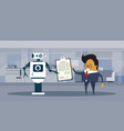 robot and business man sign contract technology vector image