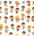 seamless pattern with happy children vector image