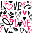 seamless pattern with love words hearts vector image