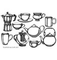 set hand drawn black and white coffee vector image vector image