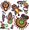 Set of hand draw ornate color flower design vector image