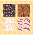 set seamless animal skin textures striped vector image vector image