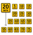 speed limit sign set isolated vector image vector image