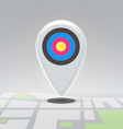 Targeted pin over city block map vector image vector image