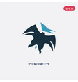 two color pterodactyl icon from stone age concept vector image