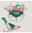 Vintage Card - with Retro Frame Bird and Flowers vector image