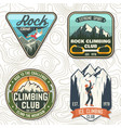 vintage typography design with climber carabiner vector image vector image