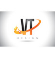 vt v t letter logo with fire flames design and vector image vector image