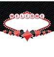 Welcome sign background with card suits vector image