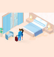 woman and man with luggage arriving in hotel room vector image vector image