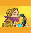 woman with bandage on mouth and phone vector image vector image