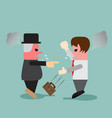 young business man quarrel with his boss vector image vector image