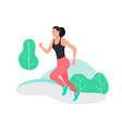 young woman jogging marathon racer running vector image vector image