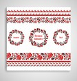 Ukrainian embroidery Rosettes and seamless borders vector image