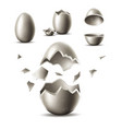 3d silver egg with broken eggshell vector image vector image