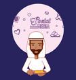 arab man avatar user smartphone social media vector image