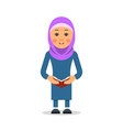 arab or muslim student woman stand in the vector image